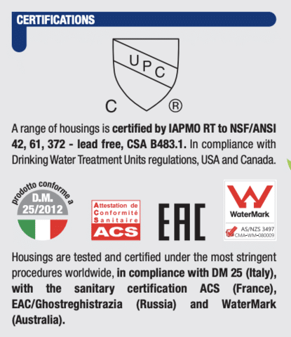 Picture showing the certification of the atlas filtri housing
