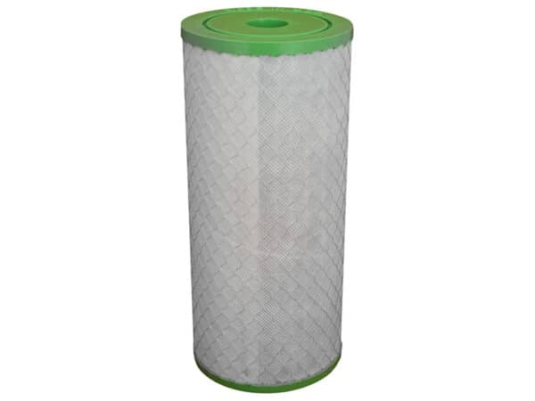 """Picture of Ultra-D Submicron Filter with green end caps as used in the twin 10"""" big blue rainwater filter kit"""