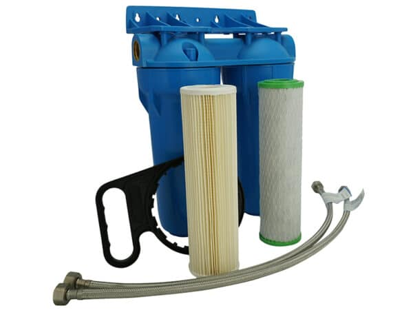 Picture of the twin inline under bench rainwater filter kit complete with mounting bracket, filter wrench, filters and optional chrome plumbing connections