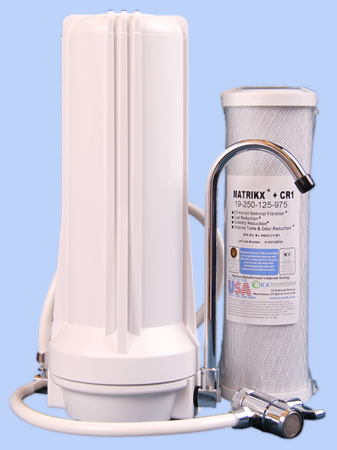 Picture of bench top filter with Matrikx CR1 cartridge , fawcet and fittings