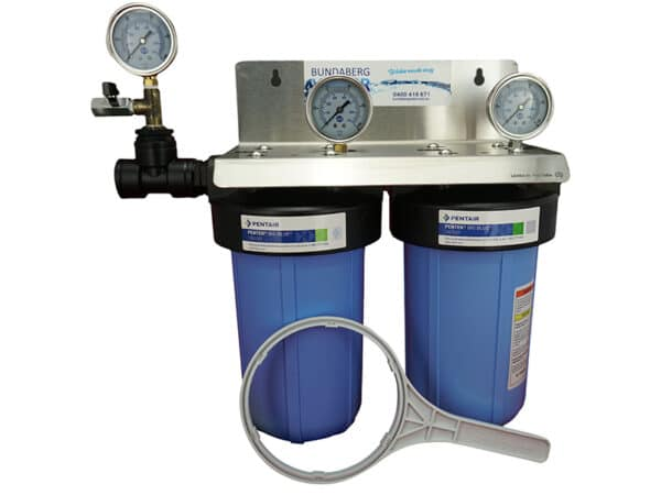 """Picture of twin 10"""" big blue filter kit shown fully assembled complete with 3 optional pressure gauges"""