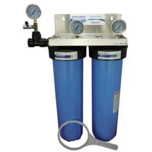 "twin 20"" big blue filter kit shown fully assembled complete with 3 optional pressure gauges"